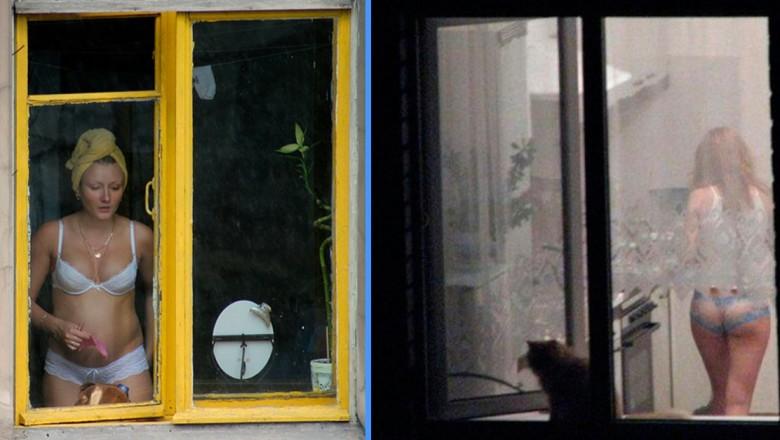 Голая девушка на балконе подсмотрел, дрочат в общественных местах на людях видео
